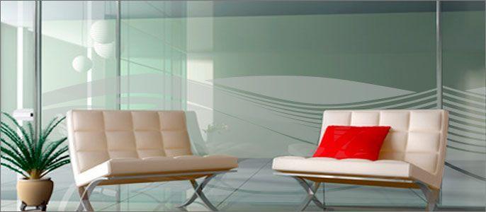 Decoraci n en vinilo al cido cristales vidrios for Vinilos para oficinas